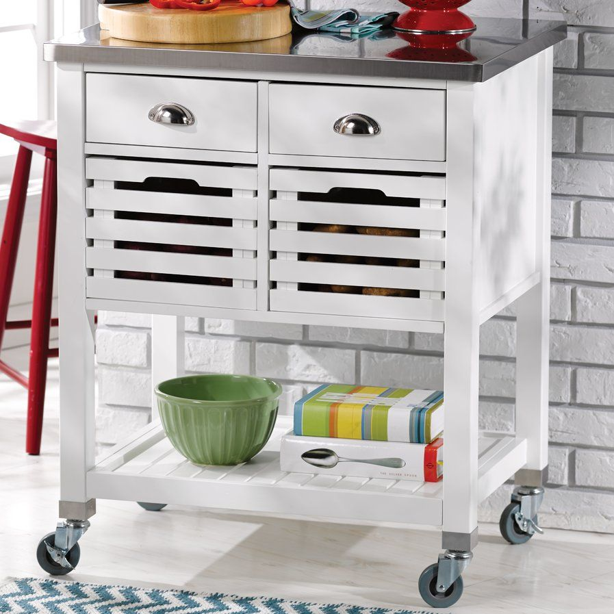 Kitchen island rolling  Fulton Kitchen Cart with Stainless Steel Top  Kitchen carts
