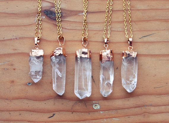 Gold Dipped Raw Quartz Crystal Point Necklace - Rough Clear Spike with Sterling Silver Plated Chain, Natural Layering