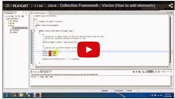 Java Collection Vector Sample Programs Or Examples Playlist