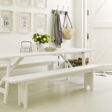 White Refectory Bench