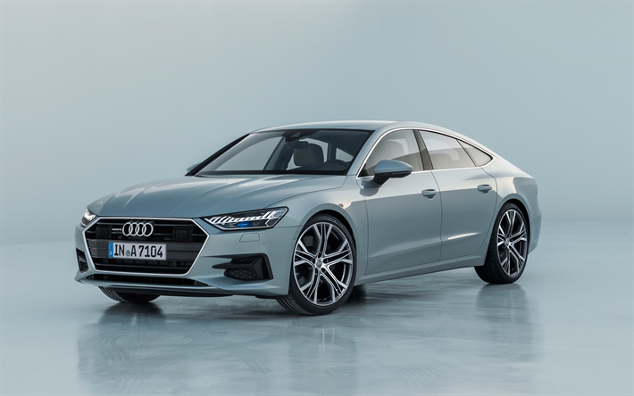 Download wallpapers Audi A7 Sportback, 2018, 4k, front view, luxury