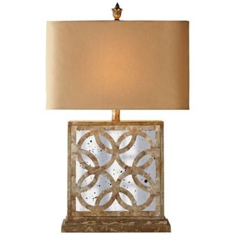 Couture Montecito Aged Mirror and Capiz Shell Table Lamp -