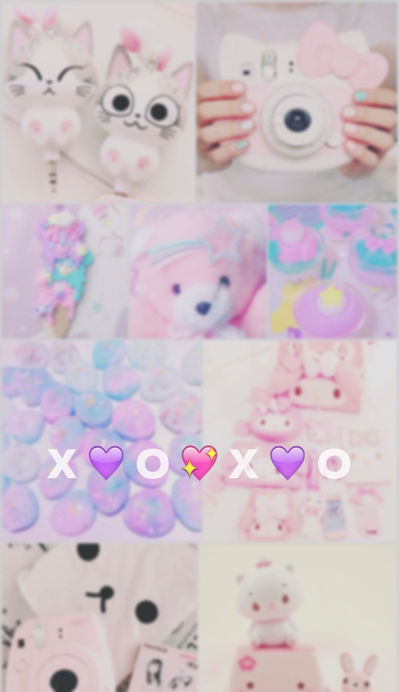 Kawaii, cute, pastel, wallpaper, iPhone, emoji, xoxo