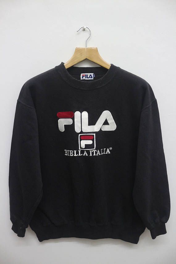 d9e849edbb28 FILA Biella Italia Big Logo Sportswear Black Vintage Pullover ...