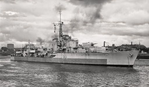 """HMS Trafalgar (D77) was a Battle-class destroyer - Commissioned:23 July 1945 - General characteristics Tons burthen:2,325 tons Length:379 ft (116 m) Beam:40.25 ft (12.27 m) Armament: 2 × twin 4.5 in guns QF Mark III on mounting BD Mk. IV 1 × single 4 in gun QF Mk. XXIII on mount Mk. III 4 × twin 40 mm Bofors mounts """"Hazemeyer"""" Mk. IV 4-6 × single 40 mm Bofors mounts Mk. VII 2 × quad tubes for 21 in (533 mm) torpedoes Mk. IX Two depth charge rails. Four depth charge throwers."""