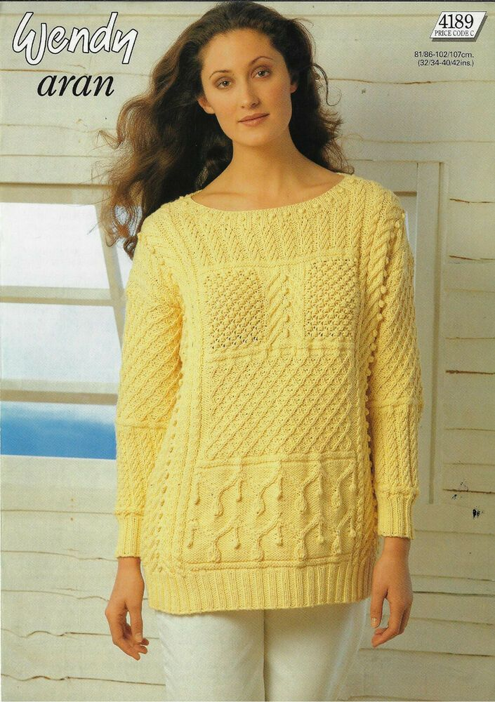Women's Cable Patchwork Sweater Wendy 4189 knitting ...