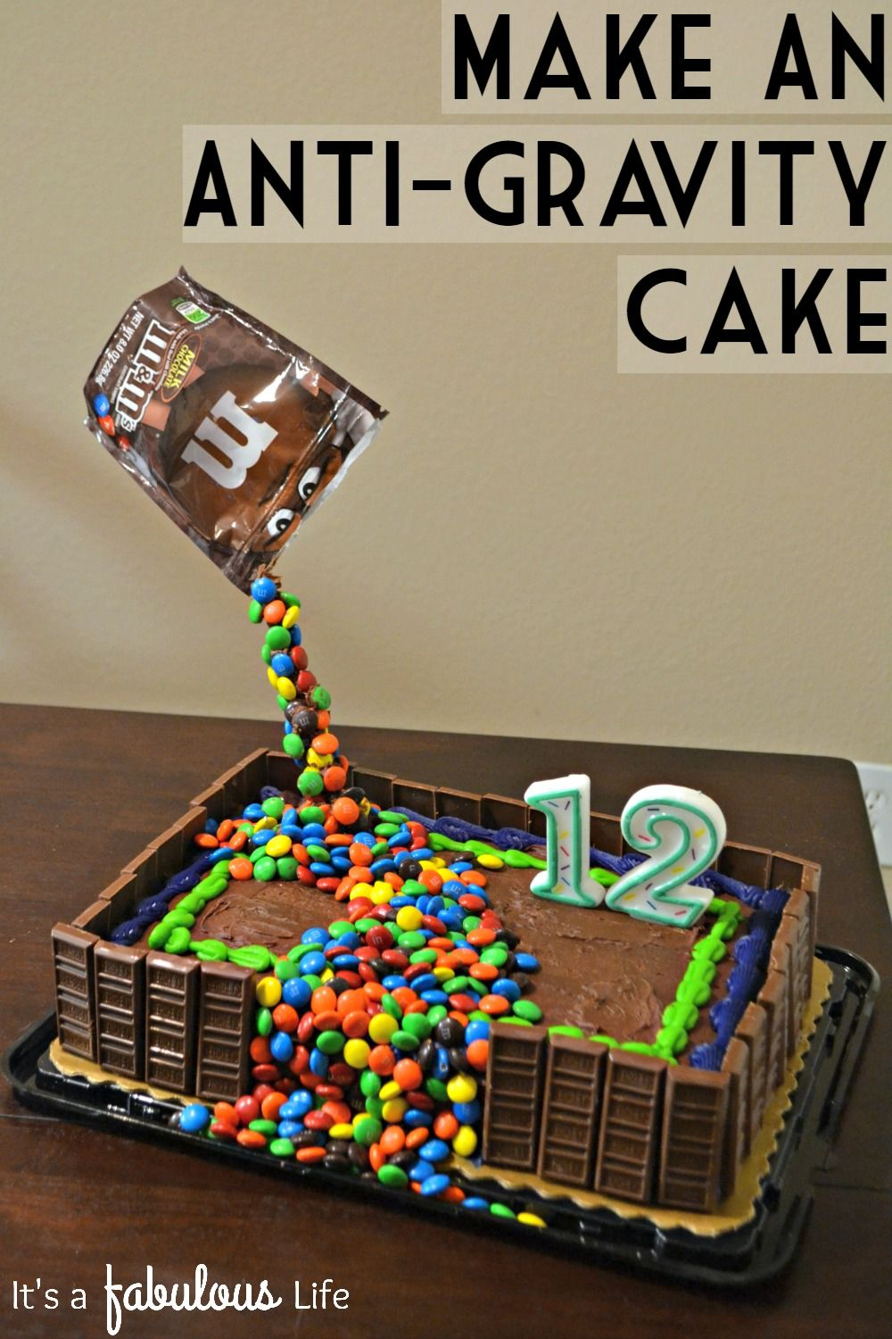 Easy birthday cake decorating idea make an anti gravity for Simple cake decorating ideas for birthdays