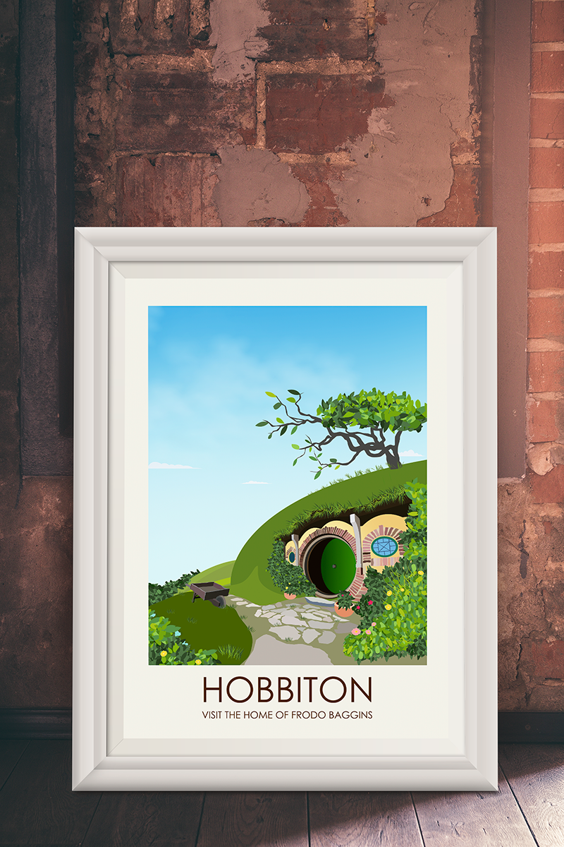 The Lord Of The Rings   Hobbit   Hobbiton Travel Print Vintage Railway  Posters Home Decor