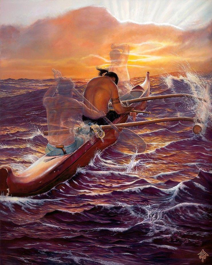 leohone canoe paddler quothe noho kou i kou waaquot a painting