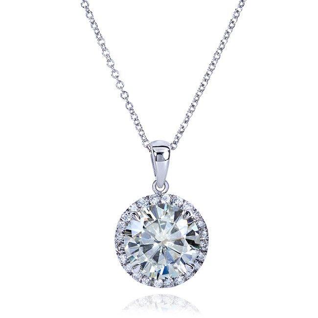 Unique 3 Carat Diamond Pendant Necklace Settings Round Moissanite And Diamond Necklac White Gold Necklace Diamond Diamond Pendant Yellow Gold Diamond Pendant
