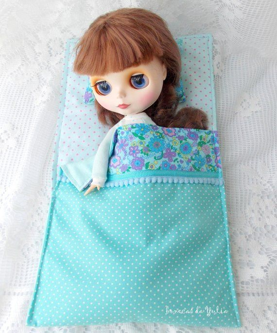 12 inch Doll blue sleeping bag Barbie Monster high Blythe Bratz 1/6 bjd bed clothes Blanket pillow Doll travel accessoires set Portable #bearbedpillowdolls