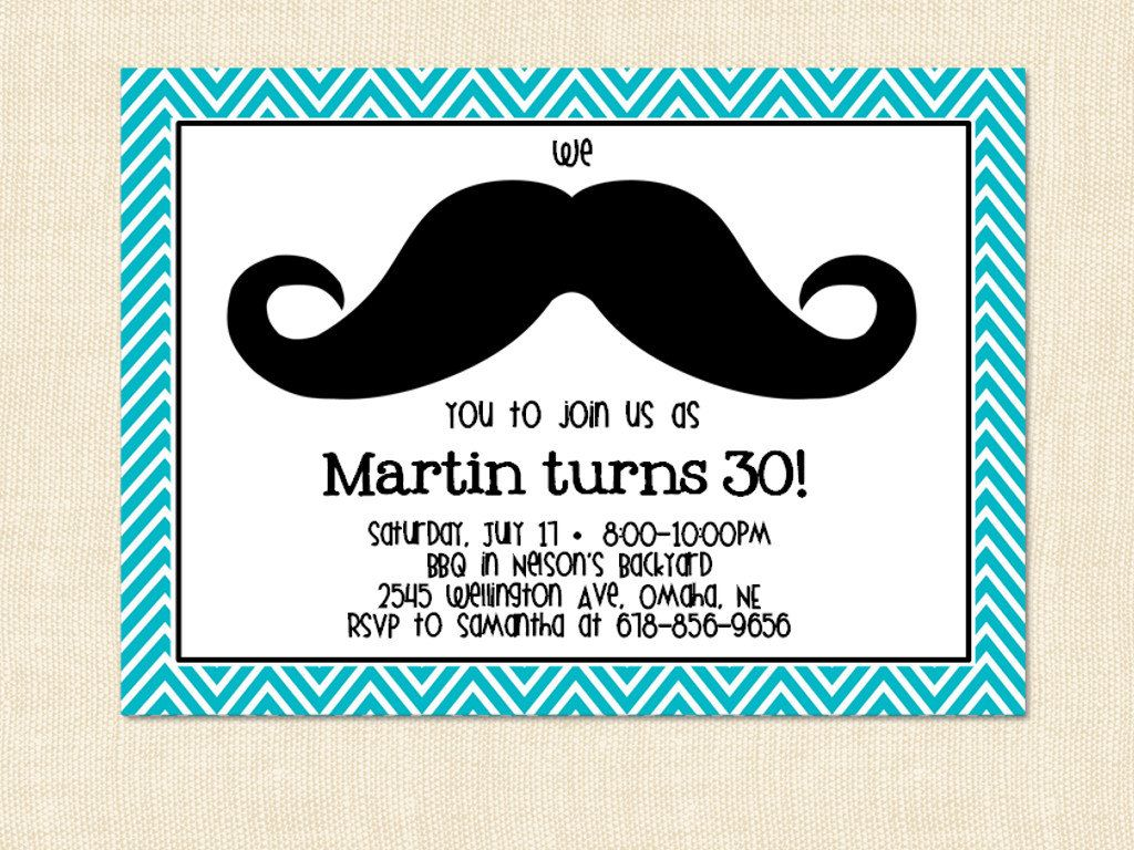 Mustache Birthday Invitation Adult Moustache Teal Blue Printable