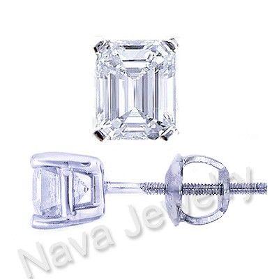 316afc7976d1a 3.00 Carat Emerald Cut Diamond Stud Earrings VS1-H | secret life ...
