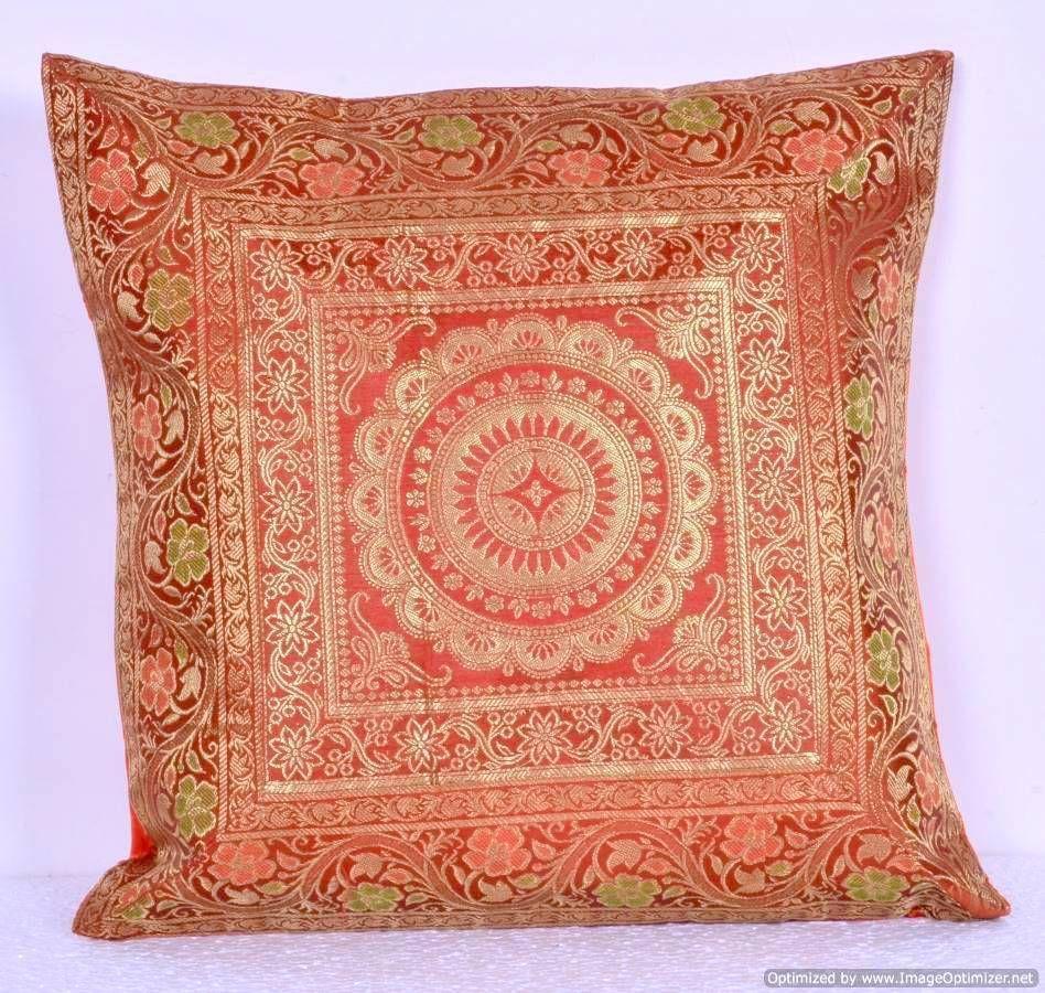 """Brocade Home Decor mandala handmade silk brocade cushion cover 16"""" home decor sofa"""