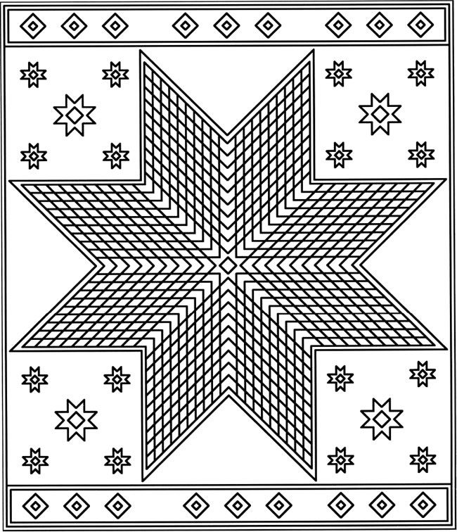 Coloring Pages For Quilt Blocks : Patchwork quilt designs coloring book doodles pages