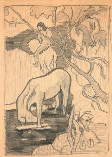 """File:Dessin original d'après """"Le Cheval blanc"""" de Paul Gauguin.jpg"""