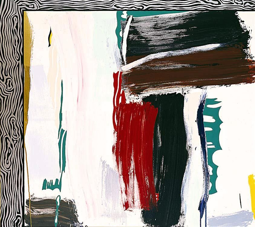 1984 - Painting with Silver Wood Grain Frame | Roy Lichtenstein | Pop art | #80s