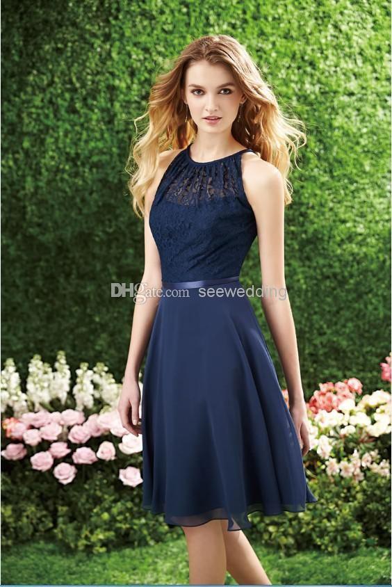 Bridesmaid Dresses Navy Blue Short - Ocodea.com