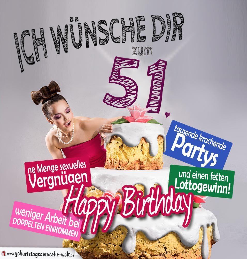 Gluckwunsche Geburtstagskarte 51 Geburtstag Mit Torte