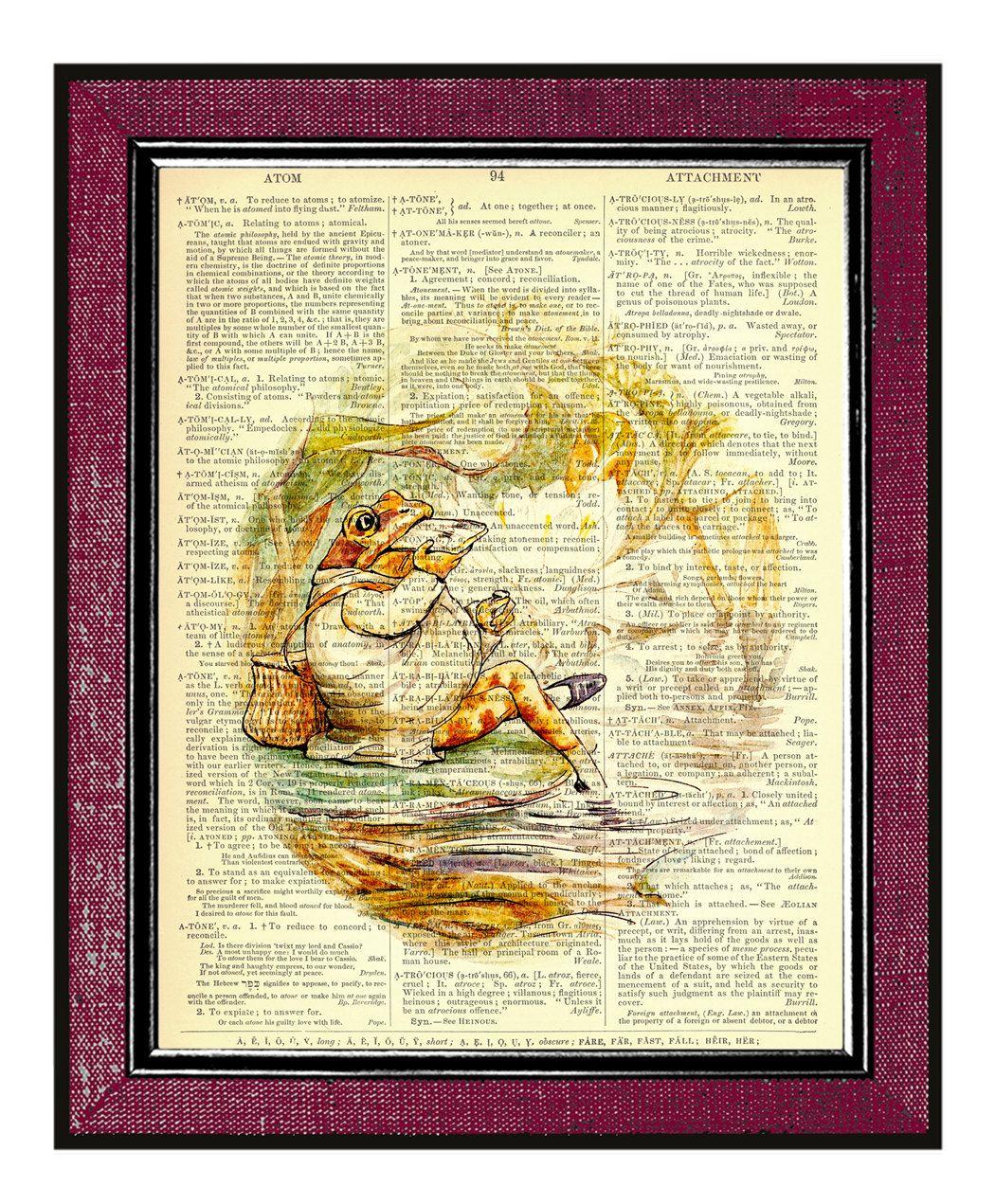 BEATRIX POTTER- Frog Book Art Kids Wall Art Dictionary Art Print ...