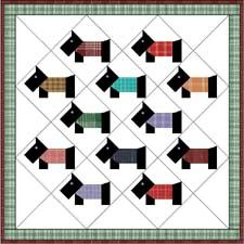Baby quilt with scotty blocks on point. These would be nice with ... : scottie dog quilt pattern - Adamdwight.com
