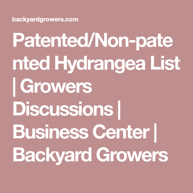 Patented/Non-patented Hydrangea List | Growers Discussions ...