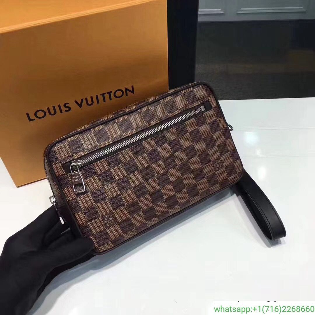Men Lv Louis Vuitton Damier Kasai Clutch Handbag N41664 Leather Bag Louis Vuitton Louis Vuitton Damier Vuitton