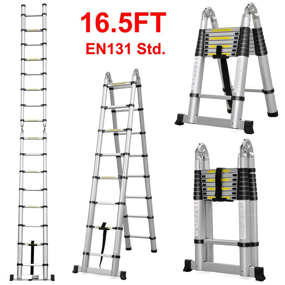 16.5 Ft Aluminum Telescopic Ladder Telescoping A-Type Extension ...