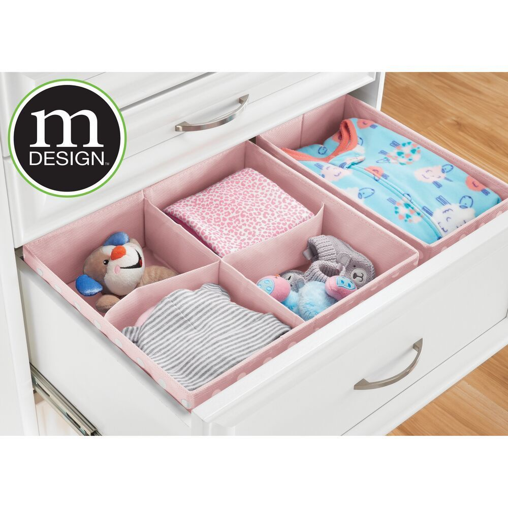 mDesign Soft Fabric Dresser Drawer and Closet Storage Organizer Set for Child/Kids Room, Nursery, Playroom - 2 Pieces, 5 Compartments INSTANT ORGANIZATION: Store and organize socks, shoes, onesies, t shirts, receiving blankets, plush toys, small books, ac