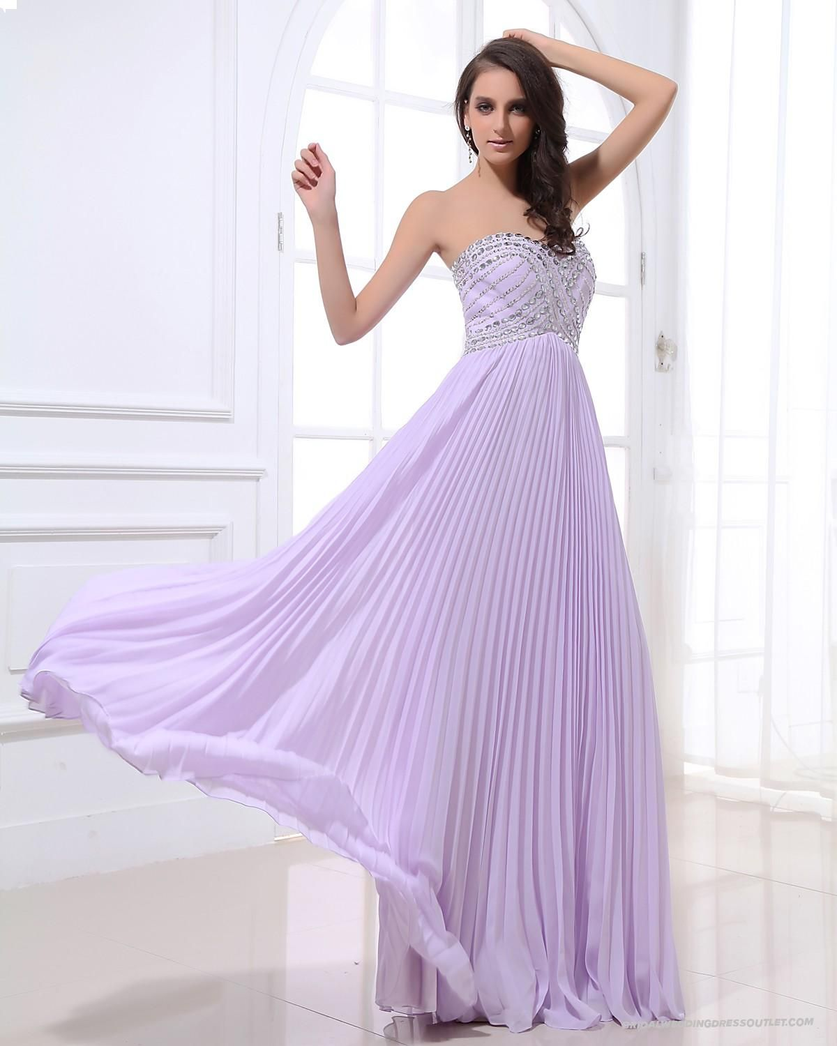 Pleated Beading Sweetheart Lavender Evening Dress | Evening Dresses ...