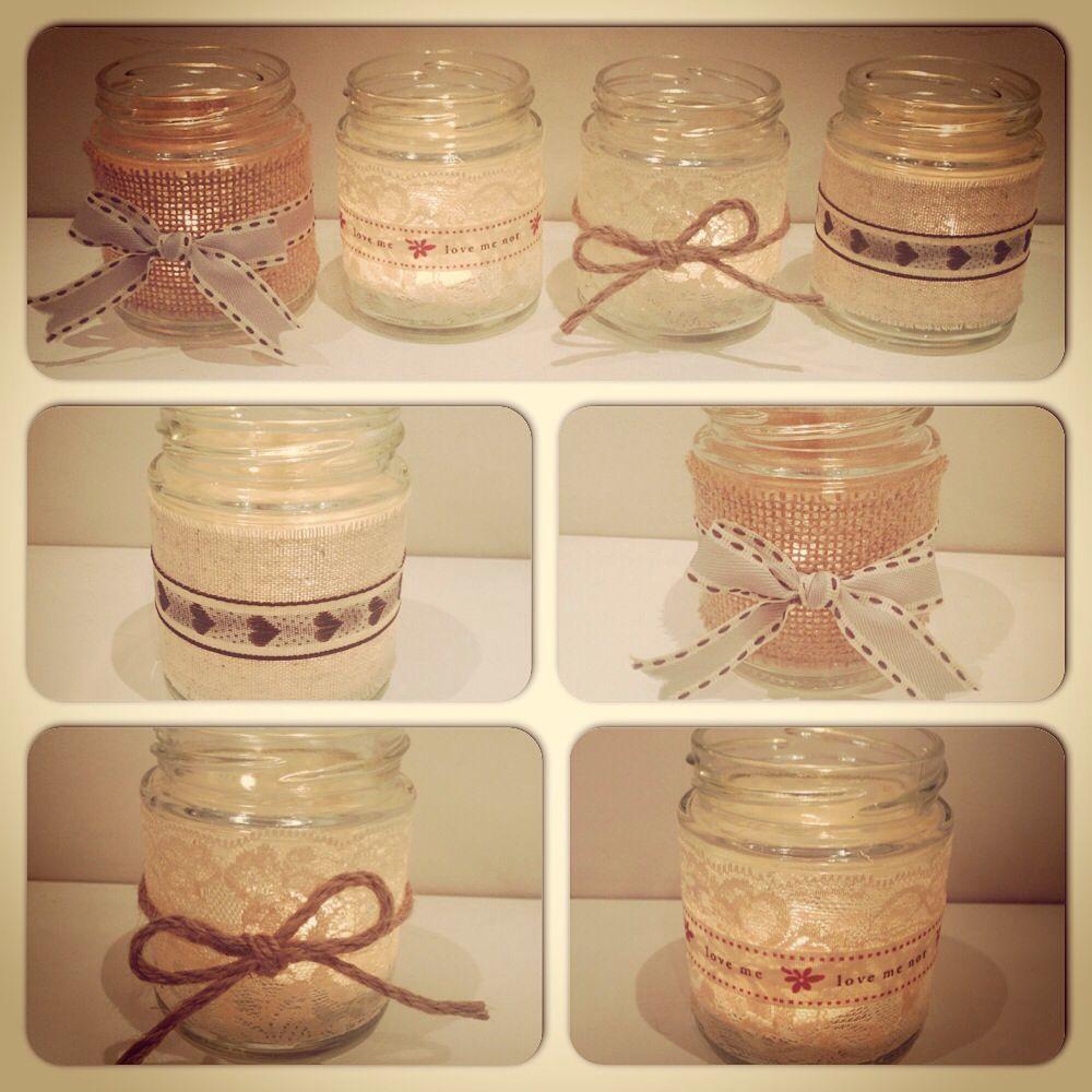 homemade candle tea light jam jar holders craft diy shabbychic wedding decoraci n. Black Bedroom Furniture Sets. Home Design Ideas