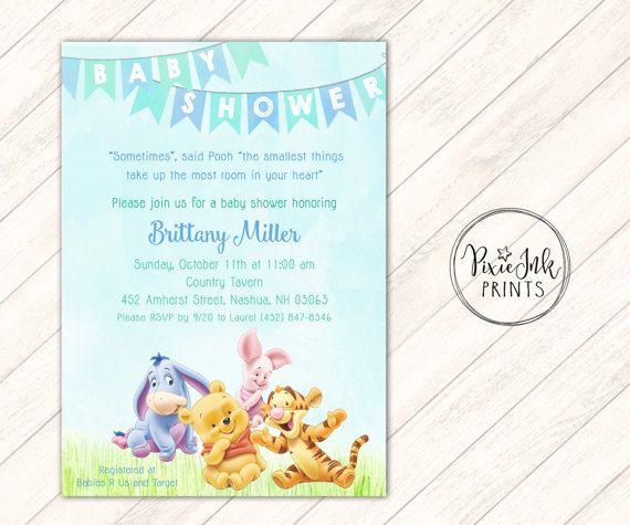 Pooh Baby Shower Invitation Pooh Baby Shower Invitation Pooh Etsy Baby Shower Invitations Baby Shower Invites Neutral Baby Shower