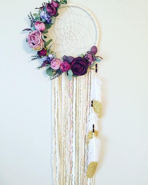 Photo of Floral Dreamcatcher, Purple Dreamcatcher, Wall Art, Boho Dreamcatcher, Floral Wall Hanging, Nursery Dreamcatcher, Dream catcher Wall Hanging