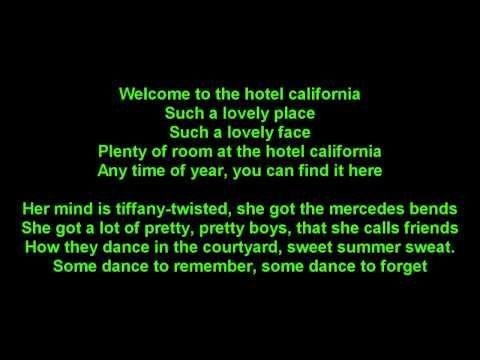 The Eagles Hotel California True Hd Onscreen Lyrics Hotel