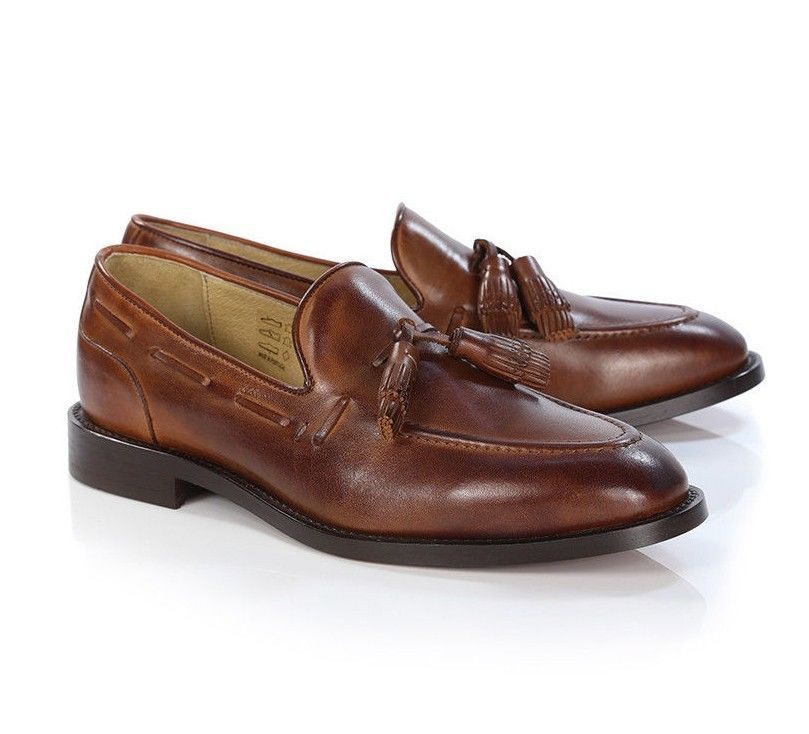 H By Hudson Tan Benedict Tassel Retro Leather Loafers Shoes
