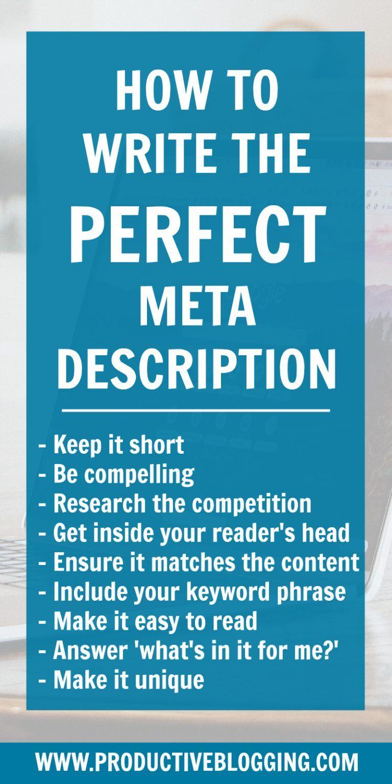 How to write the perfect meta description  Blog traffic, Blog