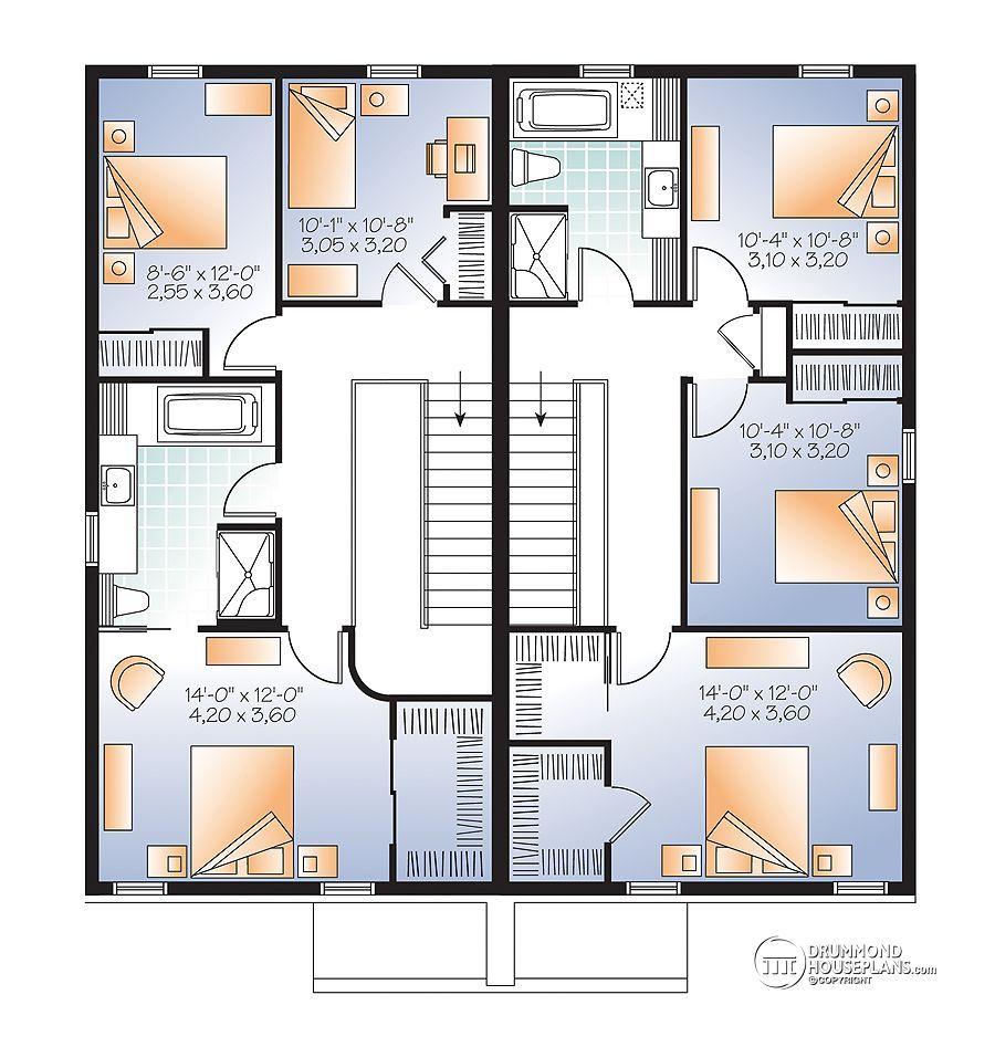 Multi family plan W3056 detail from DrummondHousePlans.com