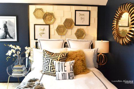 Using A Rich Navy Blue Wall Color White Black And Gold Decor Were Used To Brighten The Space And Make T Blue And Gold Bedroom Gold Bedroom White Gold Bedroom