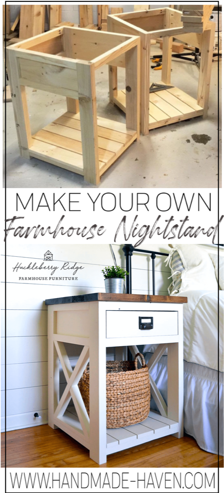 Farmhouse Nightstand/Side Table #woodprojects