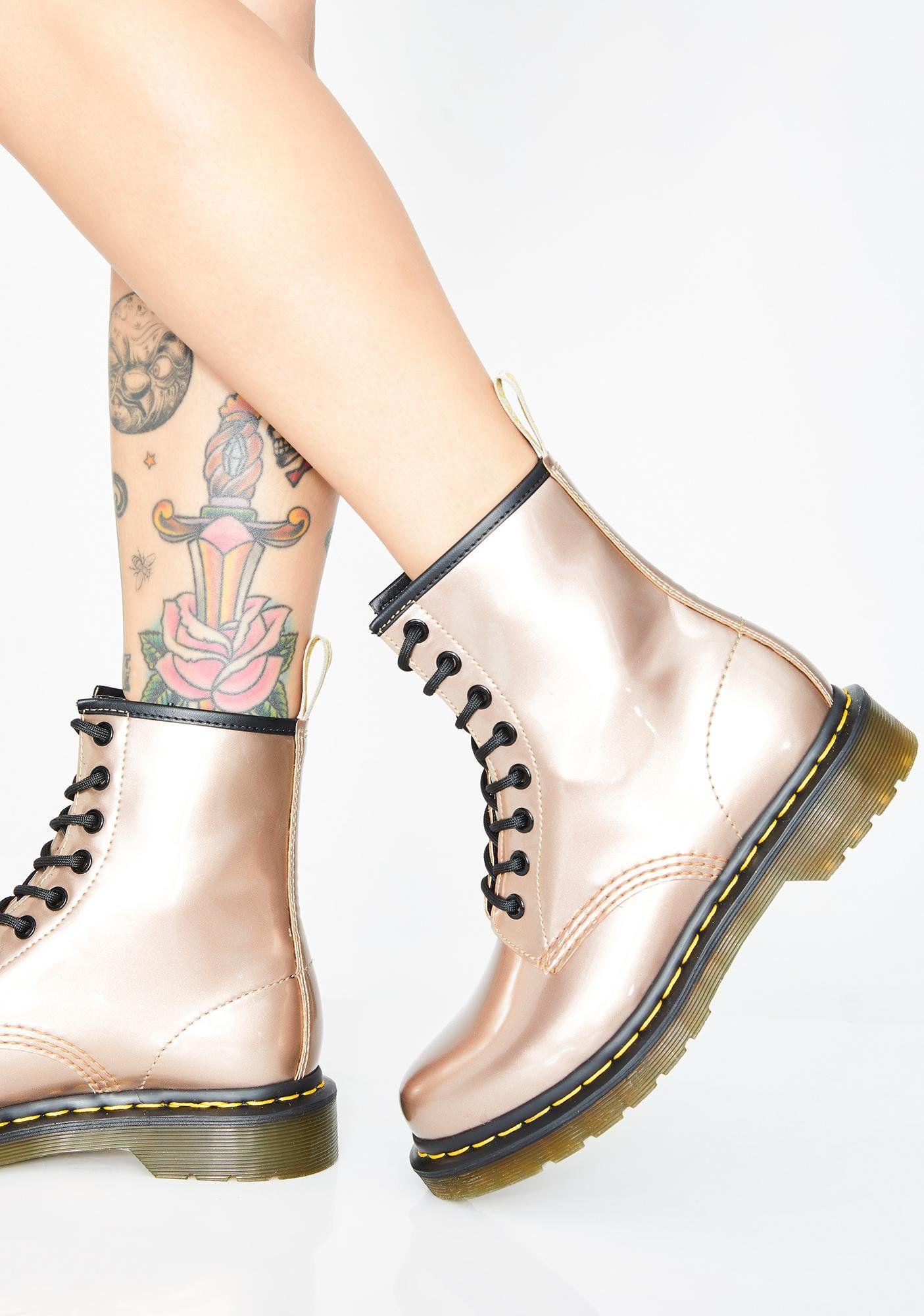 Rose Gold 1460 Vegan Chrome Boots