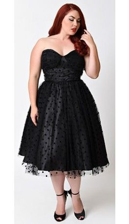 528d0a06050 Unique Vintage Plus Size 1950s Black Swiss Dot Dandridge Strapless Swing  Dress