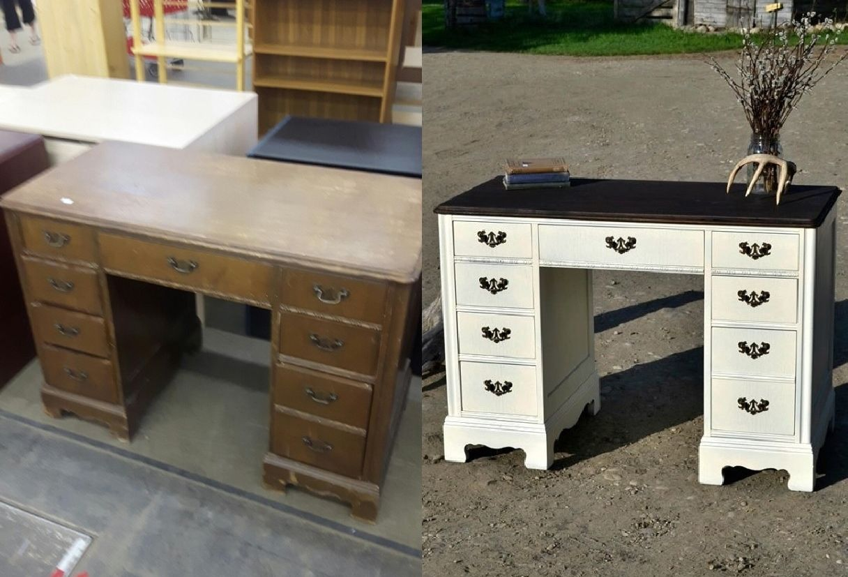 Antique Desk Had Worn Finish Lovely Solid Wood Double Pedestal Just Needed A Face