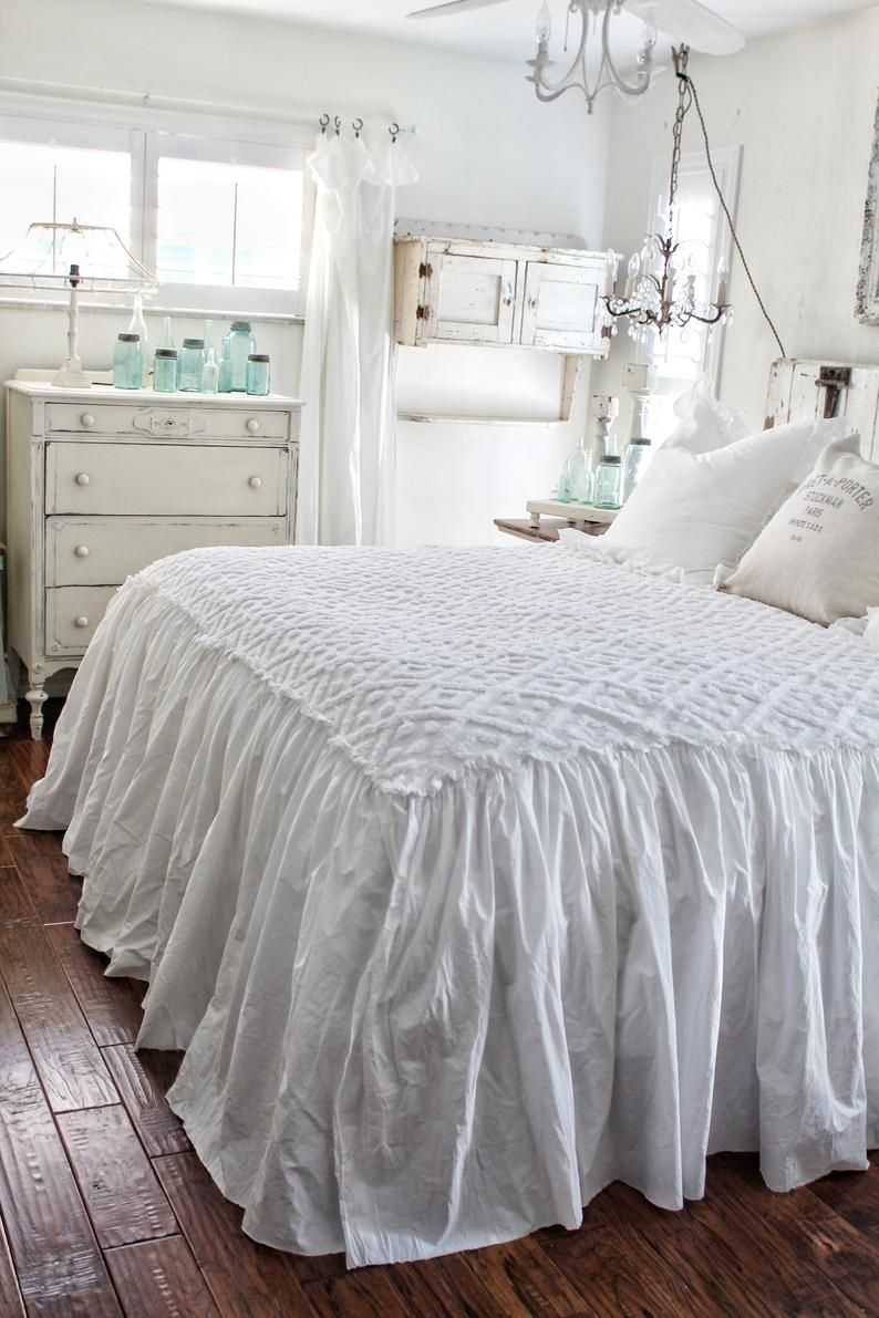 Ruffled Chenille Coverlet Bedspread Shabby Chic Bedding