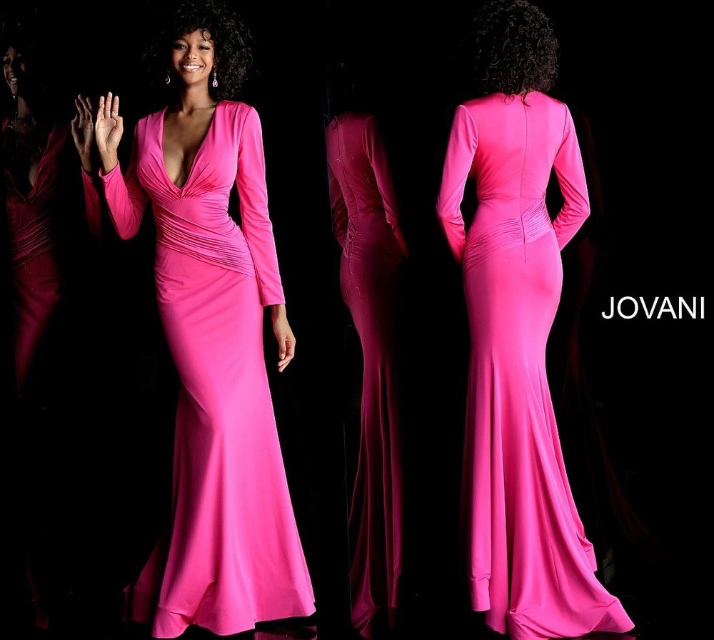 7bce3bcf15b JOVANI Hot Pink Long Sleeve V Neck Prom Dress 61385. Style Code  61385.