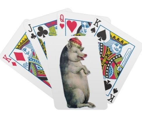 You'll want this vintage pig image on your playing cards because his smile is so contagious. It's good to be the King!  http://www.zazzle.com/pig_king_poker_playing_cards-256678422624032401