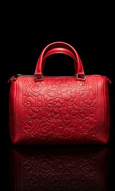 Lady In Red Ch Carolina Herrera Leather Embossed Andy Bag