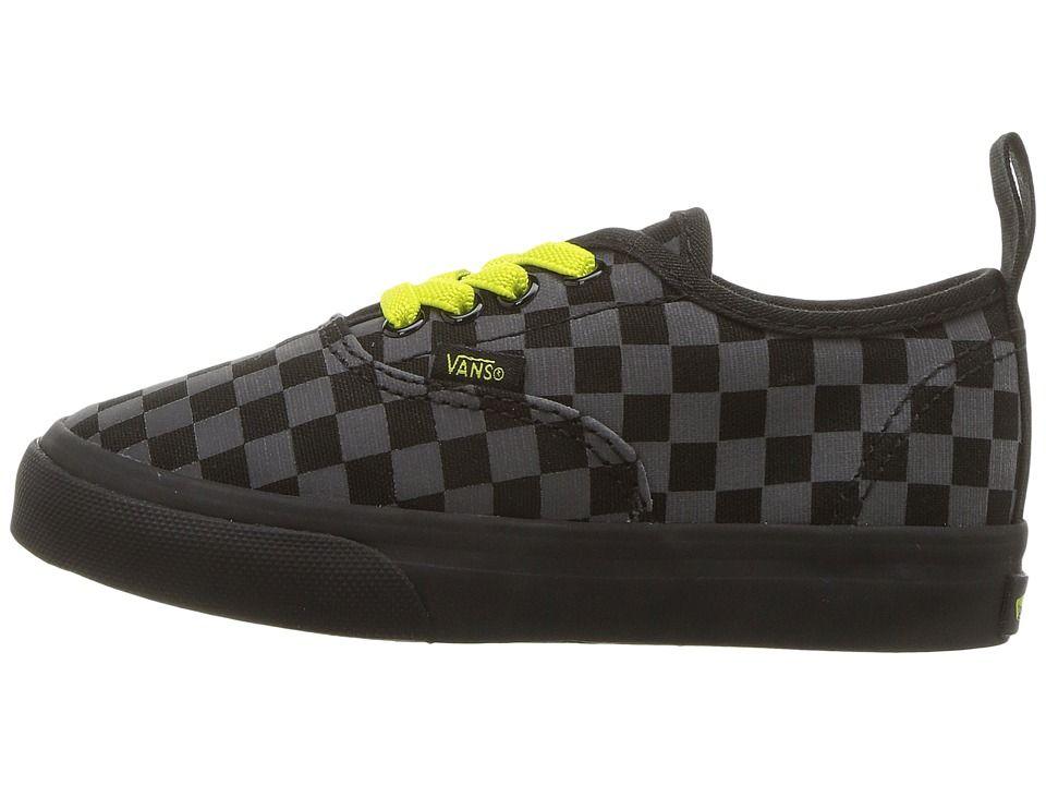 63c6193c76f7ef Vans Kids Authentic Elastic Lace (Toddler) Boys Shoes (Checkerboard)  Asphalt Reflective