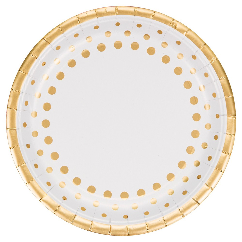 Sparkle and Shine Gold Foil Plates, 8 pk
