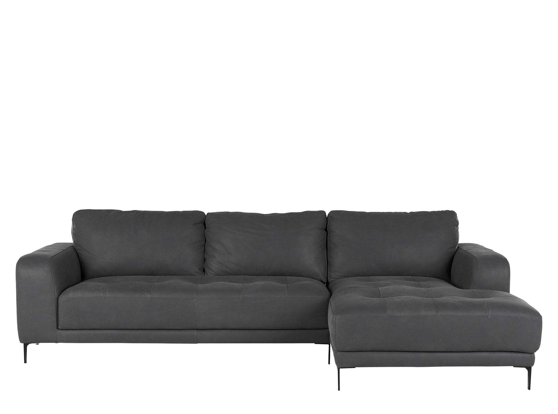 Home24 Ecksofa Luciano Right Hand Facing Chaise End Corner Sofa Grey Leather