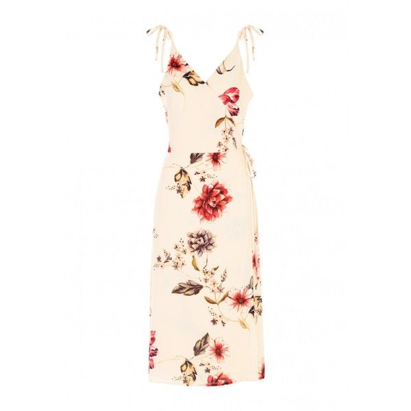 Womens Cream Strappy Wrapped Dress (675 UAH) ❤ liked on Polyvore featuring dresses, floral wrap dress, floral midi dress, floral print midi dress, white strappy dress and summer wrap dresses